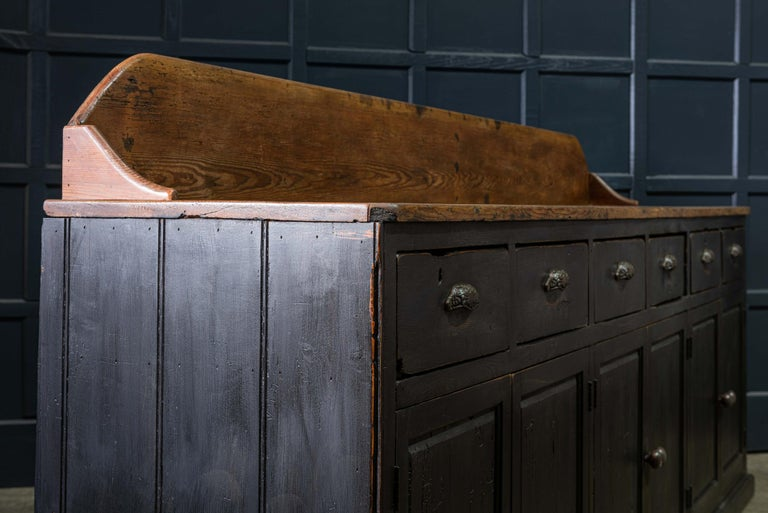 19th Century Ebonized Scottish Pine Counter Dresser Base/ Sideboard In Good Condition For Sale In Harrogate, GB