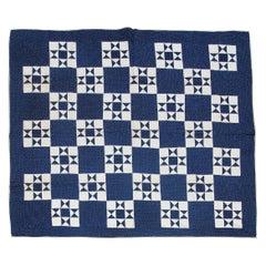 19thc Eight Point Indigo Star Quilt