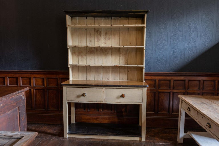 19th Century English Cream Painted Potboard Waterfall Dresser In Good Condition For Sale In Harrogate, GB