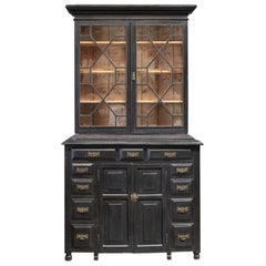 19th Century English Ebonized Astral Glazed Bookcase or Vitrine or Dresser