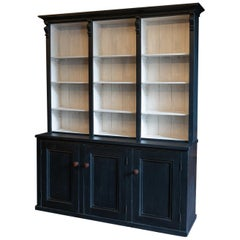 19th Century English Ebonized Black Bookcase, Dresser