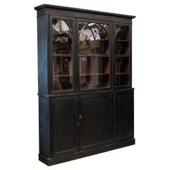19thc English Ebonised Mahogany Arched Glazed Bookcase