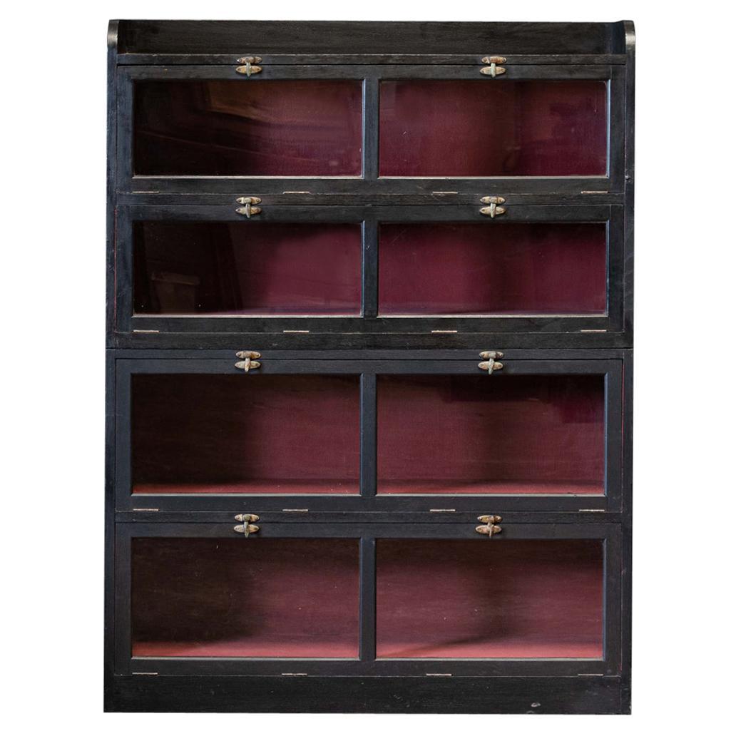 19thC English Ebonised Oak Drapers Shop Fitters Cabinet