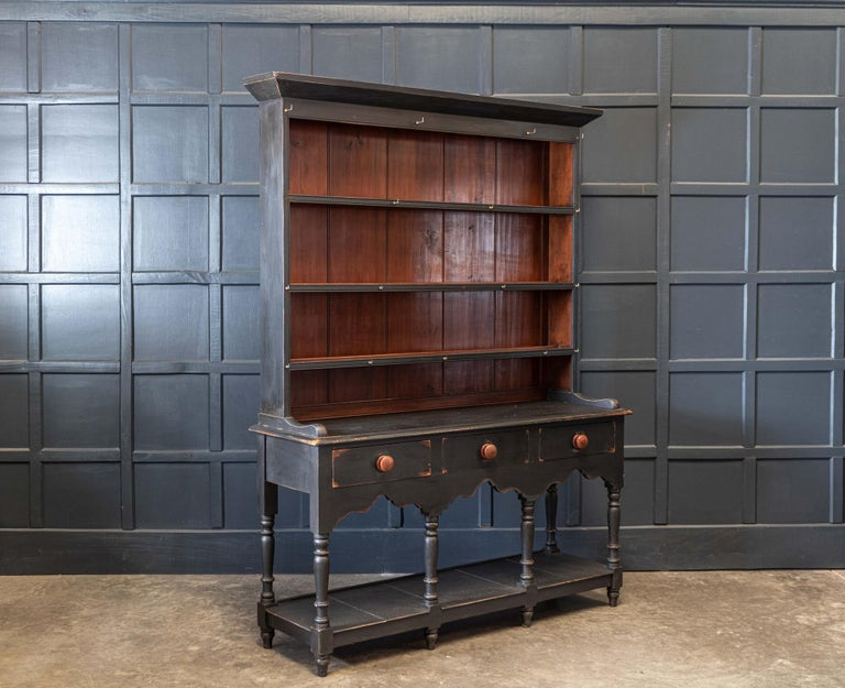 Circa 1850.  19th C English Ebonised Potboard pine dresser  Lovely scale shape and proportions     Measures: W 152 x D 47 x H 208cm.