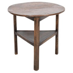 19thC English Elm Tiered Cricket Table