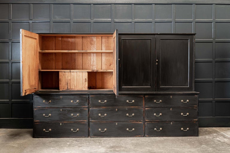 19thC English Large Country House Ebonised Housekeepers Cupboard In Good Condition In Harrogate, GB