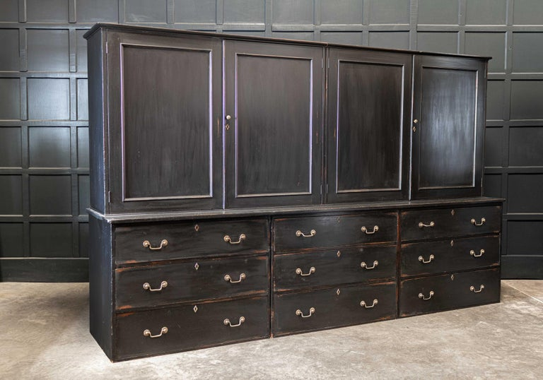 19thC English Large Country House Ebonised Housekeepers Cupboard 1