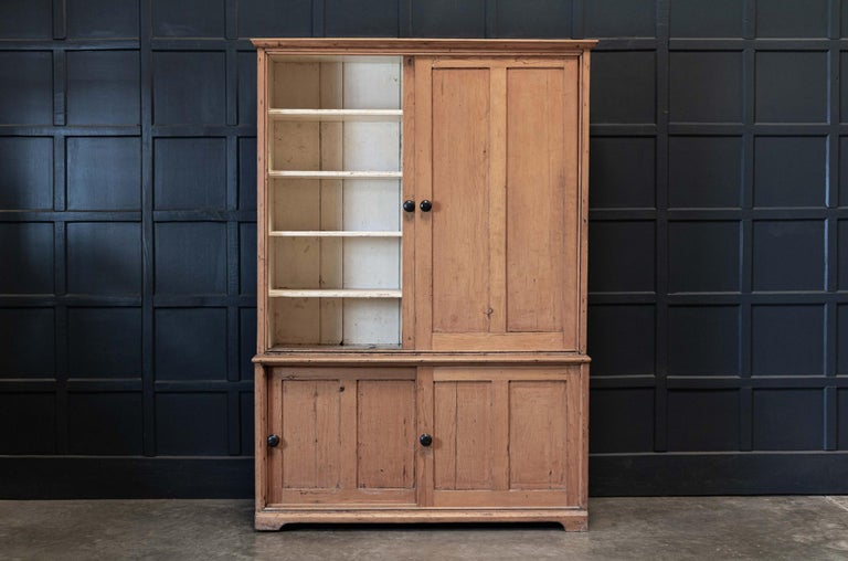 19th Century 19thC English Large Pine Housekeepers Cupboard