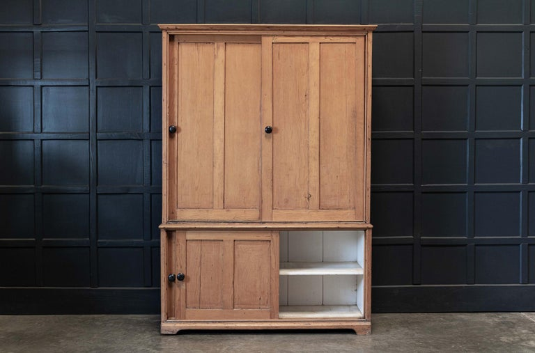19thC English Large Pine Housekeepers Cupboard 1