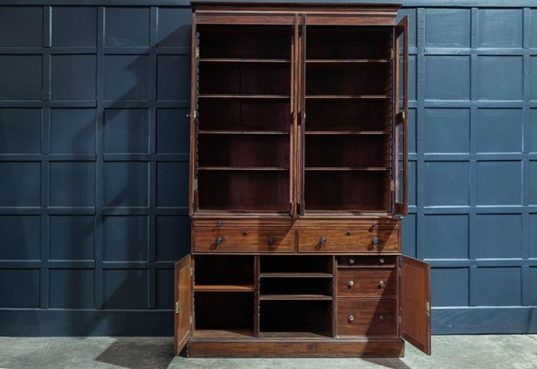 19th Century English Mahogany Glazed Secretaire Bookcase In Good Condition For Sale In Harrogate, GB