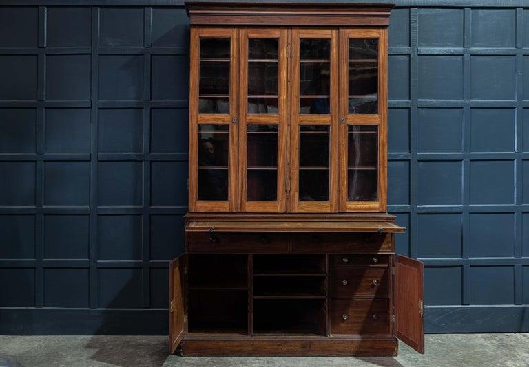 19th Century English Mahogany Glazed Secretaire Bookcase For Sale 1