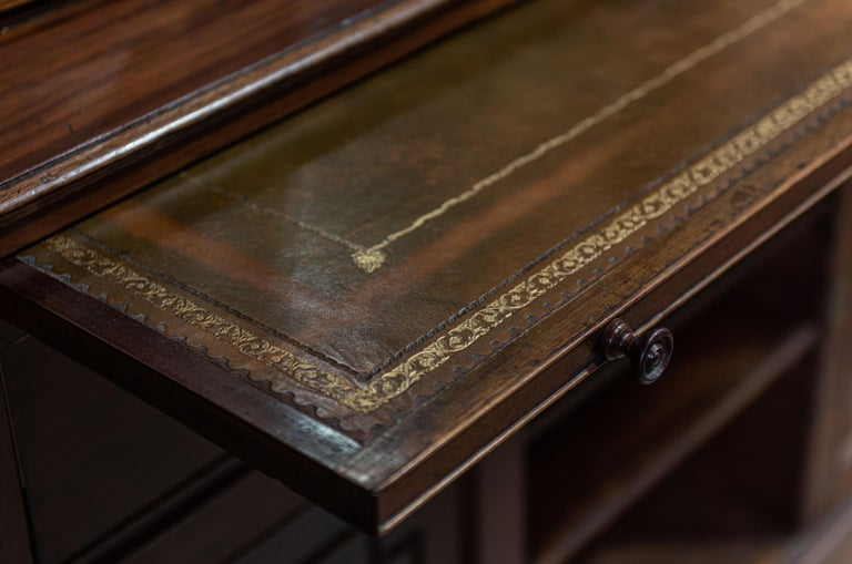 19th Century English Mahogany Glazed Secretaire Bookcase For Sale 3