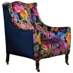 19th Century English Mahogany Wingback Armchair, Liberty Secret Garden Velvet
