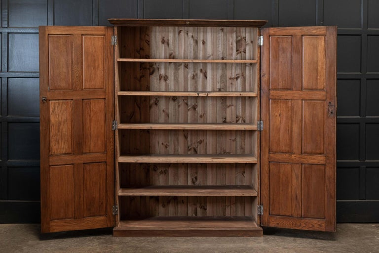 Circa 1890  19thc English oak panelled cupboard  Excellent colour and versatile narrow depth. Great for the kitchen, hall, boot room or bedroom.  Measures: W133 x D45 x H181cm.