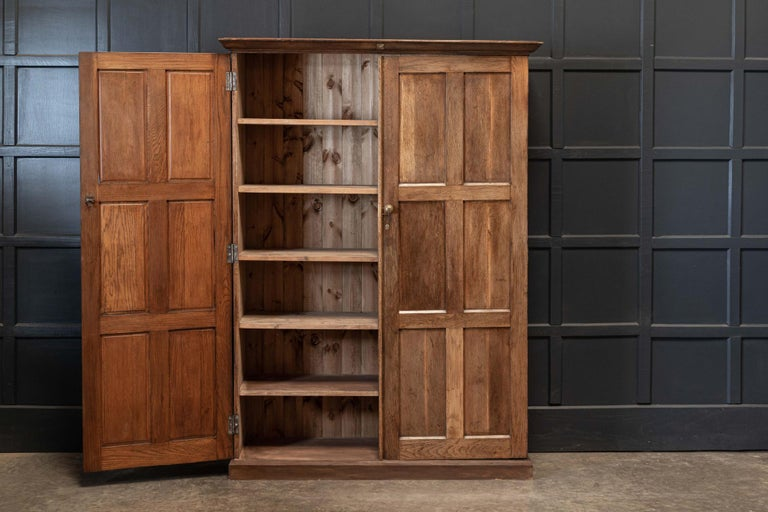 Late 19th Century 19thC English Oak Panelled Cupboard For Sale