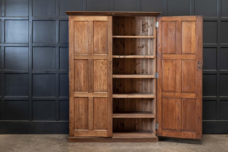19thC English Oak Panelled Cupboard For Sale 1