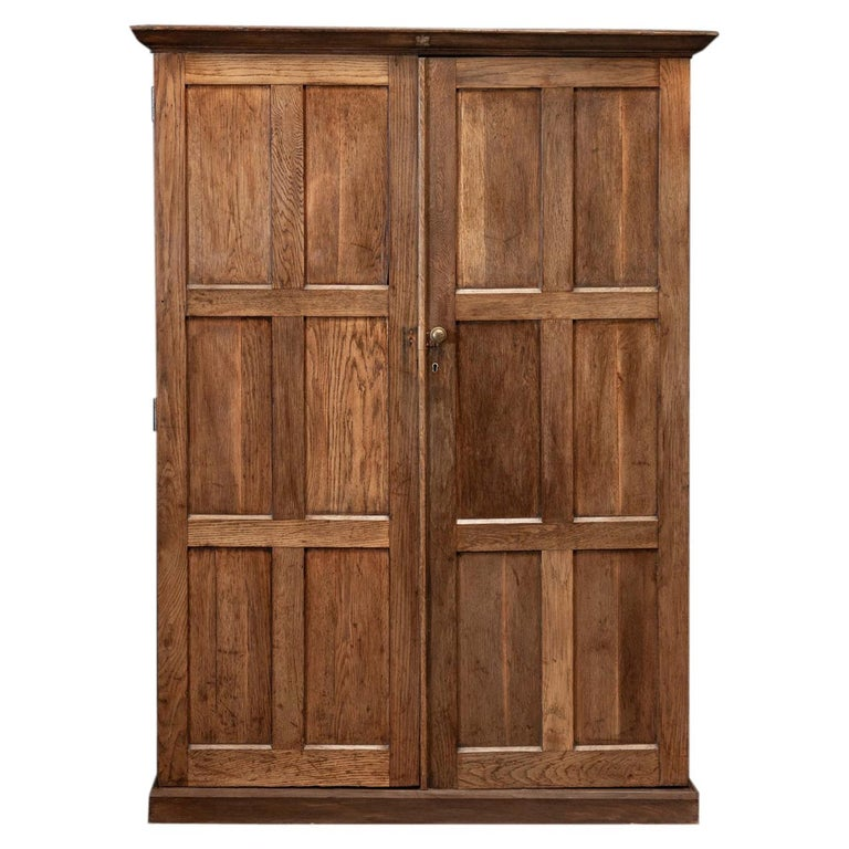19thC English Oak Panelled Cupboard For Sale