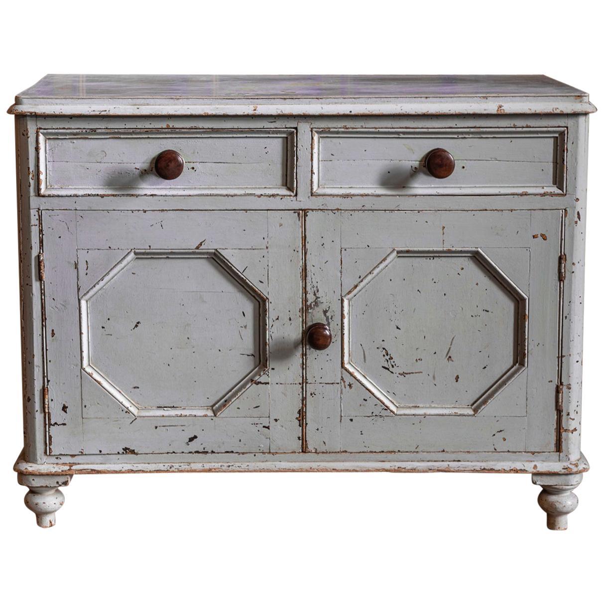 19th Century English Painted Pine Dresser Base / Cupboard
