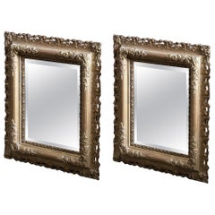 19th Century English Pair of Carved Giltwood and Plaster Mirrors