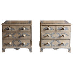 19th Century English Pair of Painted Chest of Drawers