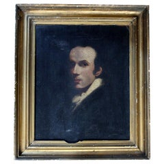 English School Oil on Canvas Laid to Board Portrait of a Gentleman, circa 1870