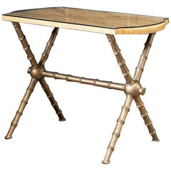 19th Century English Simulated Marble and Glass Faux Bamboo Side Table