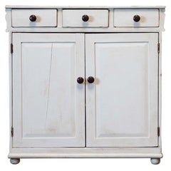 19thC English White Painted Country Dresser Base