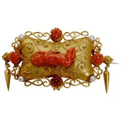 19thc Etruscan Revival 14k Gold Brooch Set with Carved Red Coral & Seed Pearls