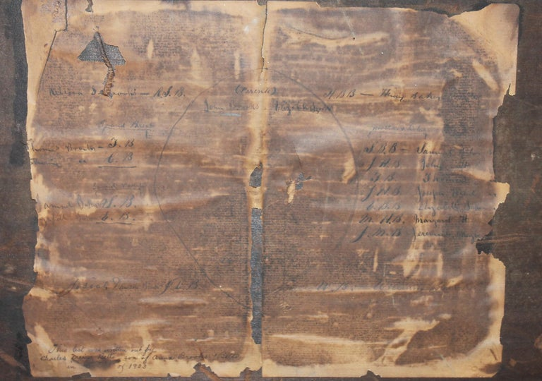 19th Century Extract Family Tree 'Anna Brooks, Philadelphia, 1818' In Distressed Condition For Sale In Los Angeles, CA