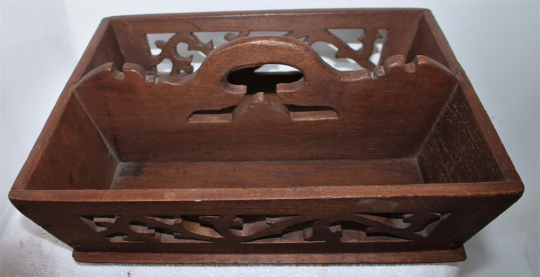 Country 19thc Fine Dovetailed Cutlery Carrier For Sale