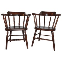 19th Century Fire House Windsor Captain's Chairs, Pair