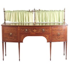 19th Century Floral Mahogany Bow-Fronted Sideboard