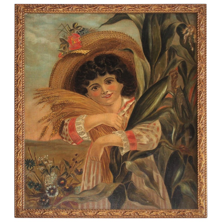 19th Century Folk Art Oil Painting of a Girl Holding Wheat For Sale