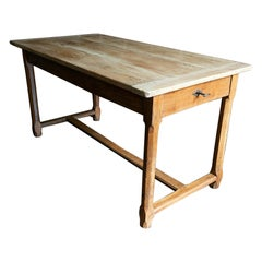 19thC French Bleached Three Plank Chestnut Farmhouse Table