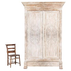 19thC French Bleached Walnut Veneer Armoire