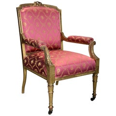 19thc French Carved Giltwood Fauteuil / Open Armchair of Large Proportions
