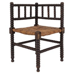 19thC French Ebonised Bobbin Rattan Corner Chair