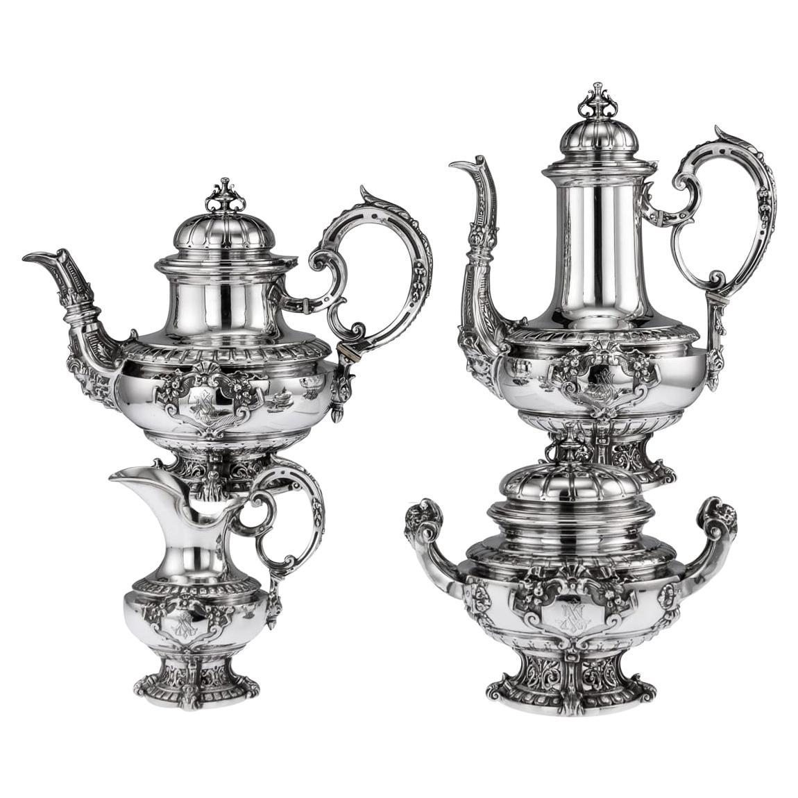19th Century French Empire Solid Silver Tea Service, Alphonse Debain, circa 1890