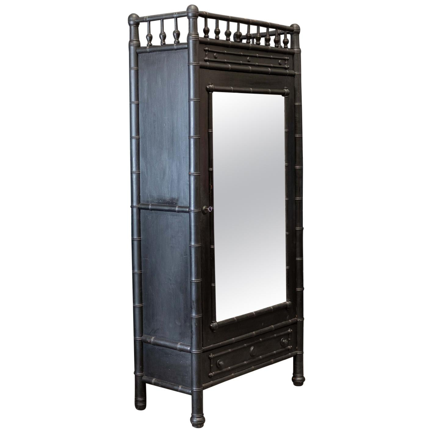 19thC French Faux bamboo Ebonised Mirrored Armoire