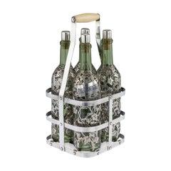 19thC French Four Bottle Tantalus, Pierre Queille, Paris, c.1890