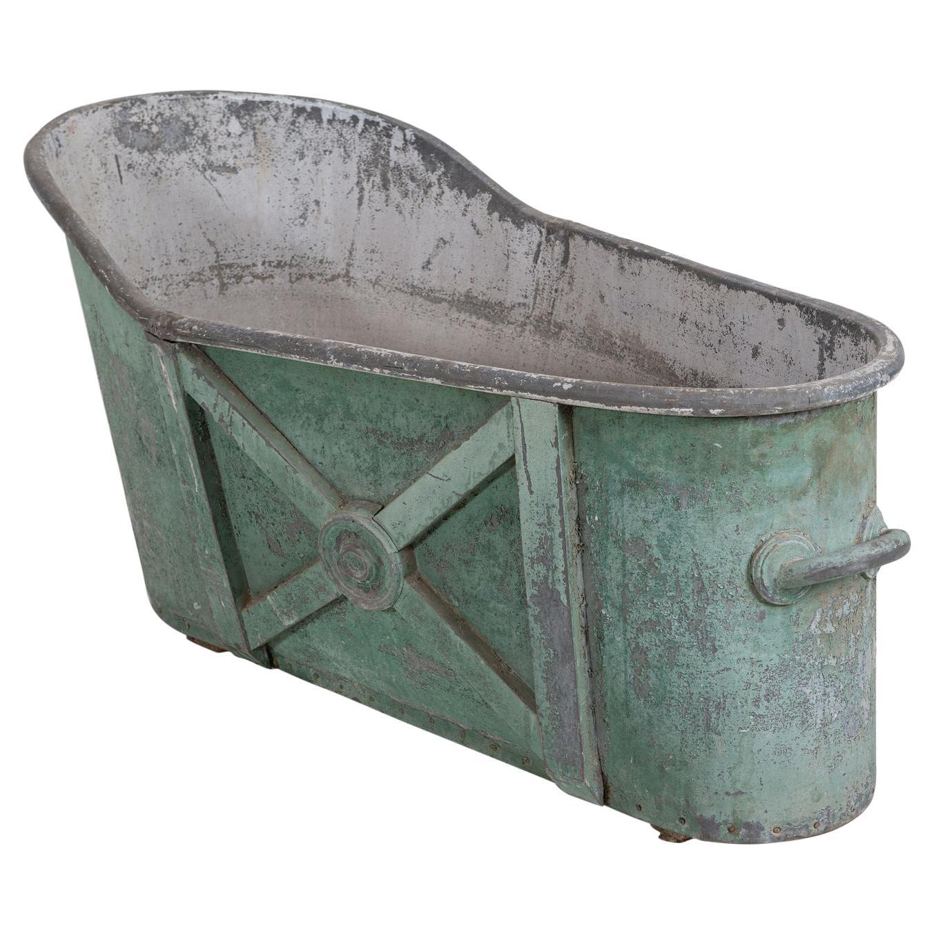 19thC French Green Zinc Bath Tub