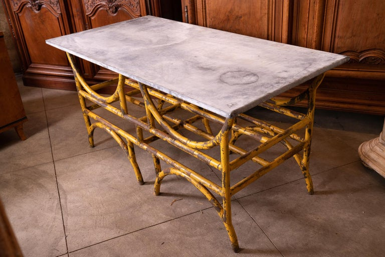 Wonderful French iron and stone butcher table perfect for indoor/outdoor kitchen decor.
