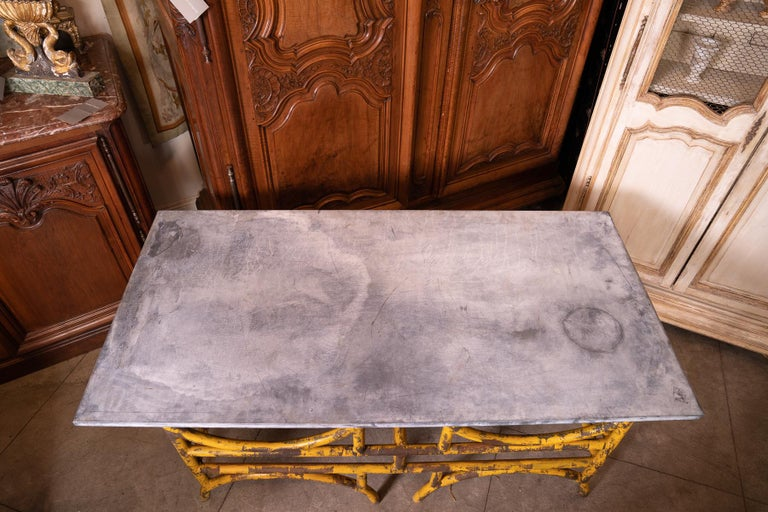 Painted 19th Century French Iron and Stone Table De Boucher For Sale