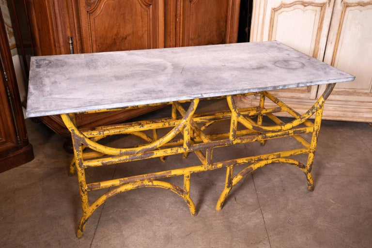 19th Century French Iron and Stone Table De Boucher In Distressed Condition For Sale In New Orleans, LA