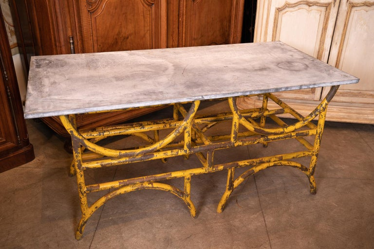 19th Century French Iron and Stone Table De Boucher For Sale 1