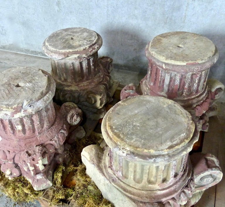 Greek Revival 19th Century French Limestone Architectural Capitals For Sale