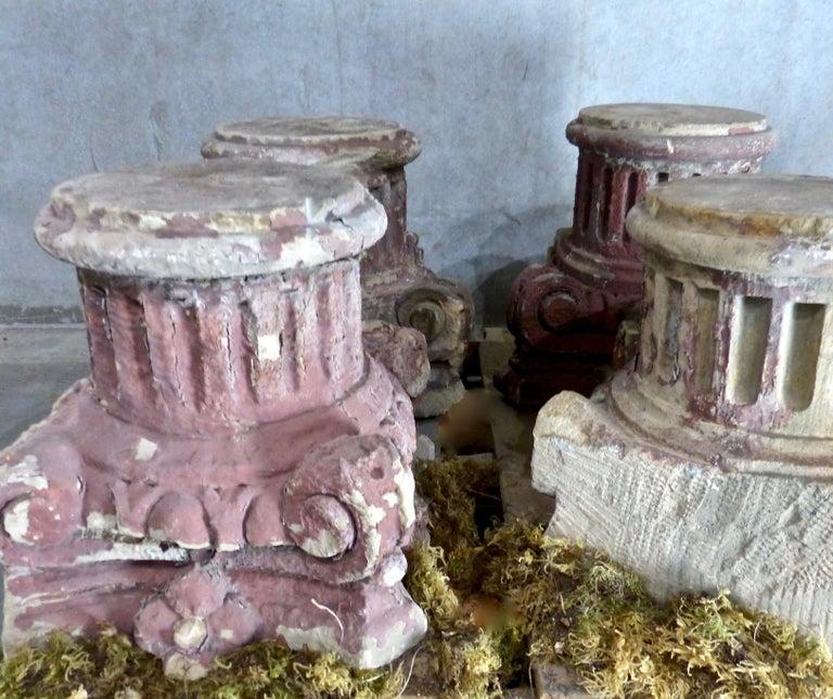 North American 19th Century French Limestone Architectural Capitals For Sale
