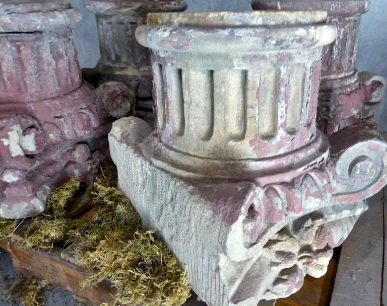 Carved 19th Century French Limestone Architectural Capitals For Sale