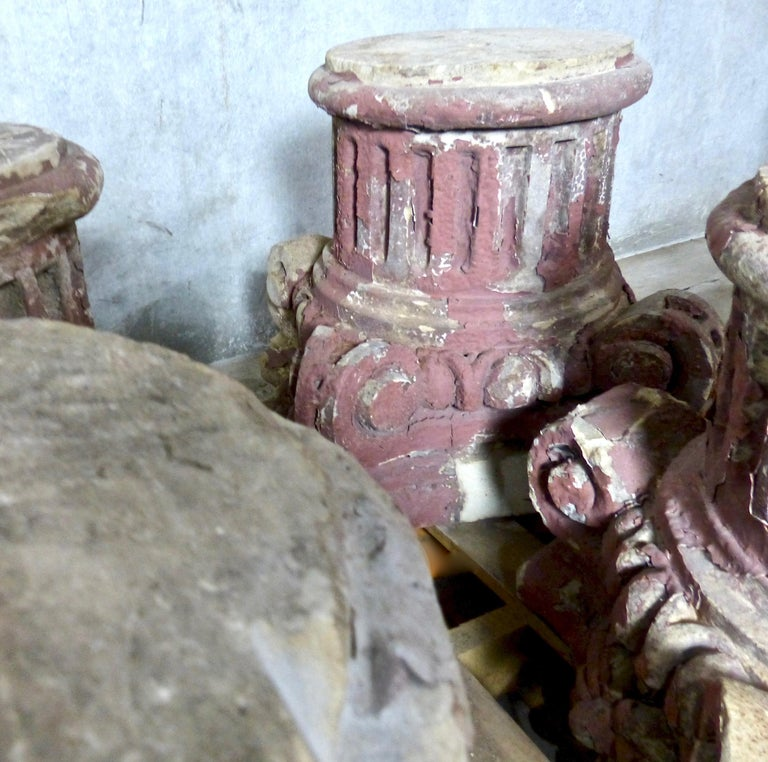 19th Century French Limestone Architectural Capitals In Good Condition For Sale In Surrey, BC