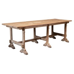 19th C French Pitch Pine Refectory Table